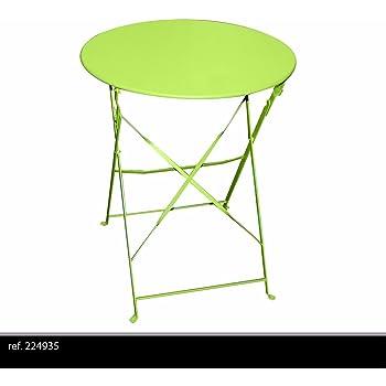 TABLE RONDE DE JARDIN EN METAL BISTRO CAFE SALON PLIANTE VERTE ...