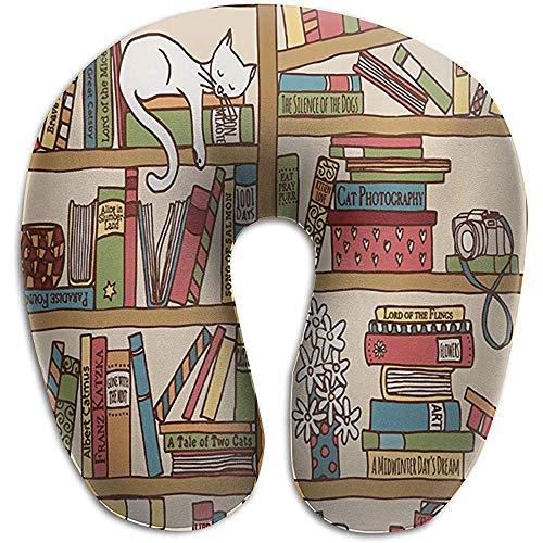 U-Form Memory Foam Nackenkissen Kopfkissen Unterstützung Rest Auto Office Home Reisekissen Nerd Book Lover Kitty über Bücherregal In Bibliothek -