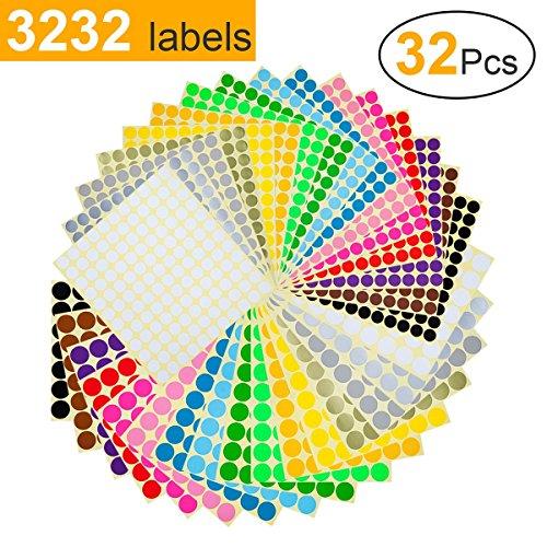 Witasm etichette adesive colorate etichette autoadesive rotonde 13mm x 16 fogli e 19mm x 16 fogli 16 colori punti adesivi dot 3232 pezzi