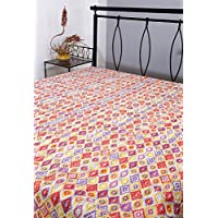 Home Decor Kantha Work doble Cama algodón floral hoja de cama Impreso