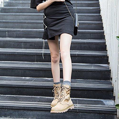 HSXZ Scarpe da donna in similpelle Autunno Inverno combattere Stivali Stivali tacco basso Round Toe stivaletti/Stivaletti per outdoor casual kaki Khaki