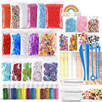 FEPITO 49 Packs Slime Supplies Kit Including Fishbowl Beads, Wobbly Eyes, Shell, Slices, Confetti, Slime Foam Beads, Slime Tools, Imitation Gold Leaf, containers (Contain No Slime)