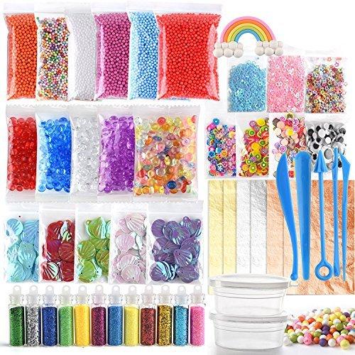 Fepito 49 packs slime-kit, einschließlich aquamarinperlen, augenwackeln, muscheln, scheiben, dragees, schleimschaumperlen, schleimwerkzeugen, blattgoldimitation, schlammzubehör
