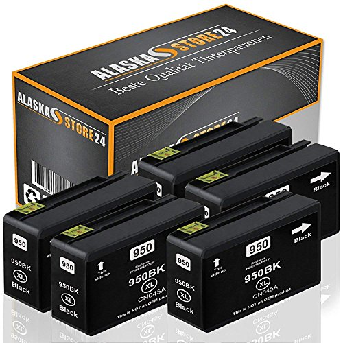 5X Druckerpatrone Komp. für HP 950 XL 950XL Schwarz Black BK für Officejet Pro 8600 8610 8620 8100 8615 8625 251dw 276dw e-All-in-One Patronen (Hp 8610 Drucker All In One)