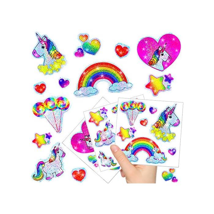 German-Trendseller - Kleine Einhorn Glitzer Sticker Bögen ┃ Neu ┃ Einhorn ┃ Kindergeburtstag ┃ Mitgebsel ┃ Regenbogen…