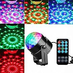 Mini luci da palco, KINGSO Mini lampada effetto disco palla magica RGB LED fase cristallo faro rotante luce sfera +Telecomando Luce Atmosfera per Discoteca KTV Bar Club Natale DJ AC 220V Magic Ball