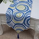 TABLE RUNNER LXF Mesa de comedor de estilo retro europeo Mesa de comedor simple Cojín de silla de mantel individual (Color : Azul, Tamaño : 33*180cm)