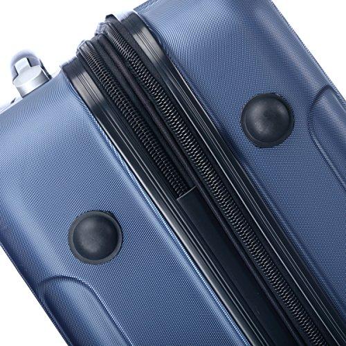 Zwillingsrollen 2050 Hartschale Trolley Koffer Reisekoffer in M-L-XL-Set in 12 Farben (XL, Dunkelblau) -