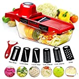 BYETOO - Cortador de verduras con mandolina, color rojo