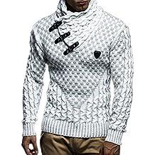 fd4a814369edeb LEIF NELSON Herren Strick-Pullover Schalkragen Slim Fit Winter Sommer|  Moderner Männer schwarzer Pulli