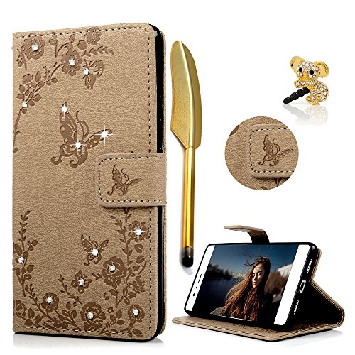 Price comparison product image P9 Lite Case ,Huawei P9 Lite Cover - Lanveni Bling Premium PU Leather Case Sparkly Diamonds & Flowers Butterfly Embossed Magnetic Flip Wallet Cover with Detachable Wrist Strap & Card Slots for Huawei P9 Lite ,including Dust Plug & Stylus Pen , Khaki