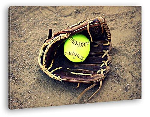 deyoli Softball Handschuh Format: 120x80 als Leinwandbild, Motiv fertig gerahmt auf Echtholzrahmen, Hochwertiger Digitaldruck mit Rahmen, Kein Poster oder Plakat -