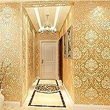 H&M Tapete dicker Damastart Luxus Europa 3D Relief Vlies Dekoration Wohnzimmer Restaurant TV Wand Schlafzimmer Tapete -53cm (W) * 10m (L) , golden