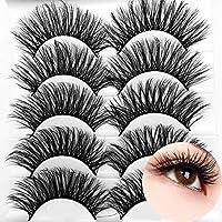 ICYCHEER Pestañas postizas de pelo artificial 3D mixtas, tiras completas, pestañas largas gruesas, herramientas de maquillaje de ojos esponjosas y esponjosas, 5 pares