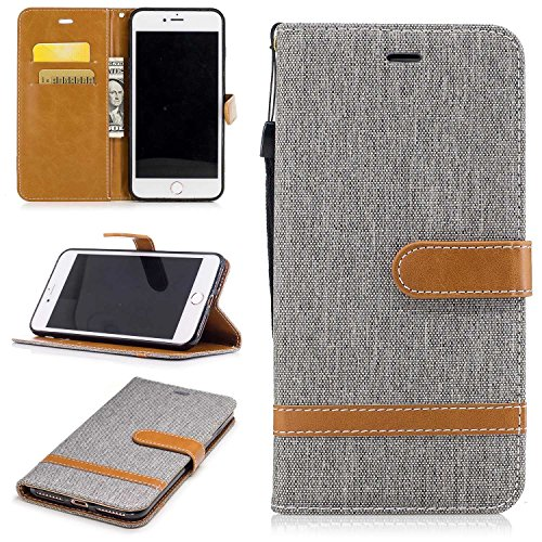 KKEIKO® iPhone 7 Plus Leather Case [with Free Tempered Glass Screen Protector], iPhone 7 Plus Premium Notebook Style Flip Wallet Case, Protective Bumper Cover (Grey)