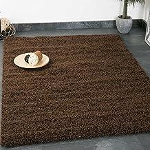 Alfombra Prime tipo shaggy de pelo largo en color marrón, monocolor, alfombras modernas para el salón y el dormitorio - VIMODA, Maße:Ø 80 cm Rund