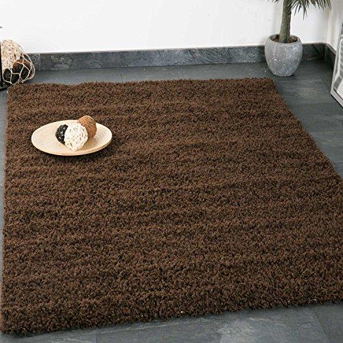 Prime Shaggy Teppich Farbe Braun Hochflor Langflor Teppiche Modern für Wohnzimmer Schlafzimmer - VIMODA, Maße:100x200 cm