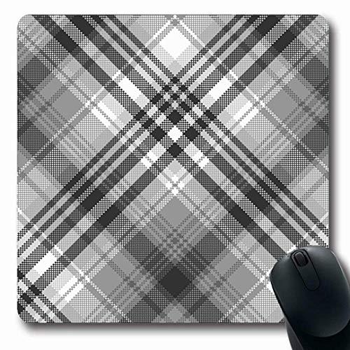 Luancrop Mousepads Muster Grau Schwarz Weiß Pixel Check Plaid Abstrakt Tartan Gingham Klassisch Celtic Checkered Design rutschfeste Gaming-Mausunterlage Gummi Oblong Mat -