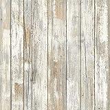 Papier adhésif Bois Blanc Papier Adhésif pour Meuble Armoire, Papier Peint Autocollant pour Placard,Tiroir(45X200cm)