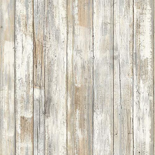 Hode Vinilo Decorativos,Papel Adhesivo para Muebles,Cocina, Armario, Resistente al Agua, Fácil de Limpiar, Estilo Nostálgico,Vintage,Pegatina Autoadhesivo, Madera,45X200cm