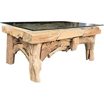 DuNord Design Couchtisch Glas Holz Glastisch Treibholz Tisch TEAK ...