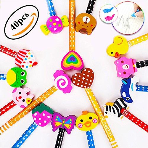 Lápices Infantiles con Borrador de Dibujos Multicolores 40 pcs, KimKo Lápices para Niños Regalos para Fiestas Cumpleaños Premios Escolares