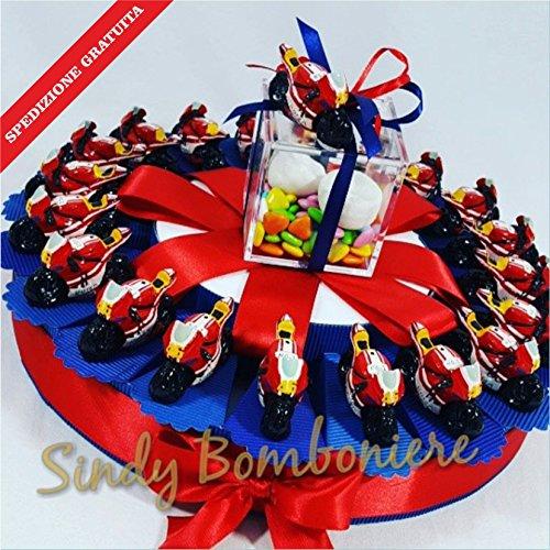 Bomboniere nascita battesimo compleanno moto valentino rossi rossa yamaha spedizione inclusa (torta da 35 fette)
