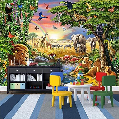 3D tapete Wandbilder Benutzerdefinierte Foto Vlies Cartoon Wiese Tier Lion Zebra Kinderzimmer Schlafzimmer Wohnkultur Wandmalerei 350x256cm
