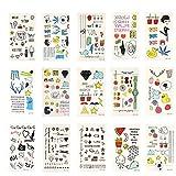 Xcellent Global Tatuaggi temporanei 15 fogli con animali, farfalle, fiori, cuori, per collane, bracciali, braccia e caviglie BT013
