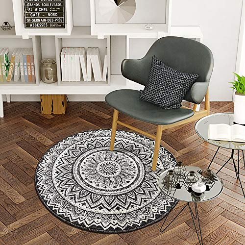 MU Home Wohnzimmer Eingang Nachttisch Teppich-Schwarz Weiß Weich Pelzigen Bereich runder Teppich Wohnzimmer Geometrisch Modern Lässig 100Cm * 100Cm Bereich Teppich Leicht zu reinigen Farbstoff/Verb - Teppich Farbstoff