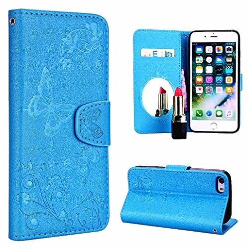 ZCRO Hülle für iPhone SE/iPhone 5S / iPhone 5C / iPhone 5, Handyhülle Schutzhülle für iPhone SE 5S 5 5C Hülle Case Leder Cover mit Spiegel Handytasche Magnet Tasche für iPhone SE 5S 5 5C (Blau)