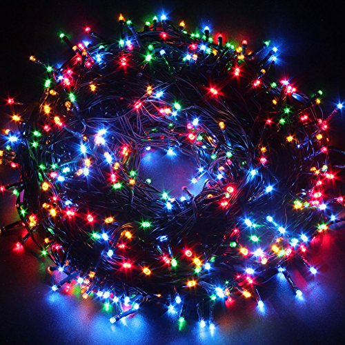 Coloured outdoor christmas lights amazon excelvan safe low voltage output24v 328ft 500 led 100m led multi colored green string indoor outdoor waterproof fairy lights 8 modes lighting for aloadofball Gallery