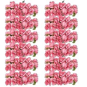 Kanggest 144pc Hermosa Mini Papel Artificial Flores de Rosa para la Decoración de la Tarjeta de Boda Decoración del…