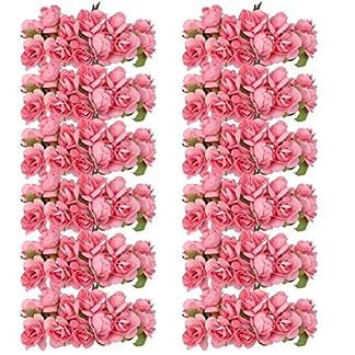 Kanggest 144pc Hermosa Mini Papel Artificial Flores de Rosa para la Decoración de la Tarjeta de Boda Decoración del Hogar Artesanía DIY – Rojo