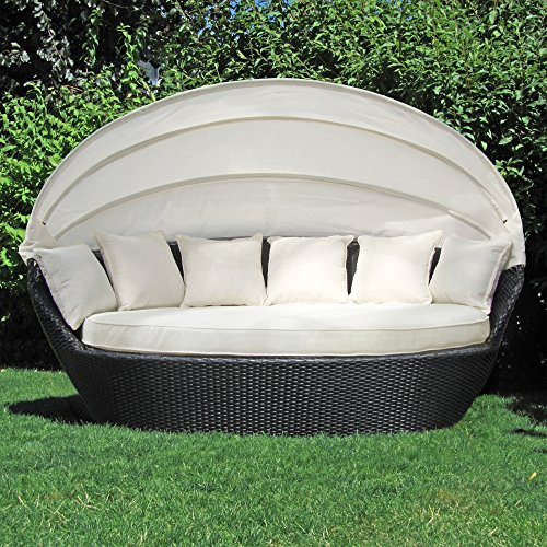 Outdoor-möbel Aluminium (JOM Sonneninsel, Polyrattan Garten Lounge, Chill-Out Sofa mit Baldachin (195x115x140 cm), schwarz, Aluminiumgestänge, mit Sitzpolster und 6 Kissen beige)