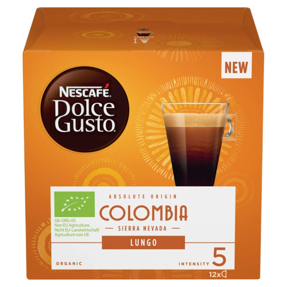 Nescafé Dolce Gusto Colombia Sierra Nevada Lungo coffee pods and capsules (a almond, barley, nutmeg coffee with aromas of fresh fruit and petals, nutty, spices and tobacco)
