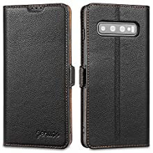 Jenuos Samsung Galaxy S10 case, Flip Genuine Leather Wallet Phone Case Cover with Magnetic Closure for Samsung Galaxy S10 - Black (S10-DK-BK)