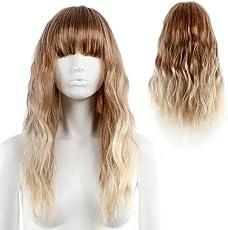 Ombre-blonde Perücke mit Pony und natürlichen Wellen für Damen, Cosplay, Party, 58 cm