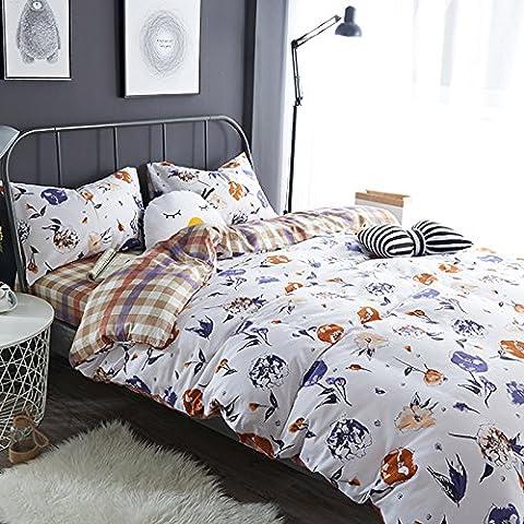 WaaiSo Simple Algodón puro Suave Cómodo ropa de cama sabanas de cama para niños, estudiantes y el dormitorio set de 4, 2.0m?suitable 6.6 inches