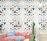 TIEZ Nordic Lattice Tapete/Wohnzimmer, Schlafzimmer, TV Hintergrundbild/Einfache/Diamant-Geometrie, 0,35 * 10m, Weiß