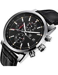 BENYAR mode hommes Quartz chronographe imperm¨¦able ¨¤ l'eau montres d'affaires Casual sport Noir bracelet en cuir bande de poignet montre