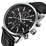 BENYAR Herren Uhr Chronograph Analogue Quartz Wasserdicht Business Schwarz Zifferblatt Armbanduhr mit Schwarz Leder Armband