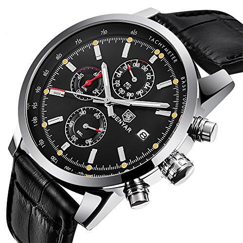 BENYAR Mode Men es Quartz Chronograph wasserdicht Uhren Business Casual Sport Design Schwarz Lederarmband Armbanduhr (Silver Back)