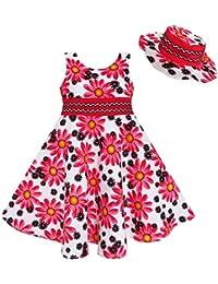 Mädchen Kleid 2 Pecs Hut Blume Sommer Urlaub Prinzessin