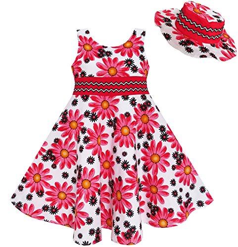 fb41-sunny-fashion-vestito-floreale-bambina-rosso-4-5-anni