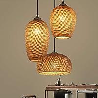 Lampe Suspendue Bambou Tissé À La Main, Rotin Lampe À Suspension Tissée À La Main, 3-Lumières Abat-Jour Bambou, Lumières…
