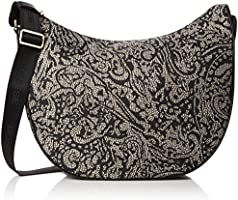Borbonese Luna Medium C/Filetto, Borsa a Spalla Donna, Marrone (Op Nat. Cach/Nero), 35 x 38 x 15 cm (W x H x L)