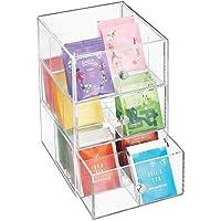 mDesign boite de rangement cuisine en plastique avec 3 tiroirs – casier de rangement pour sachets de thé, tisane…