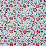SCHÖNER LEBEN. Baumwolljersey Jerseystoff Jersey Marienkäfer Punkte Blumen blau bunt 1,50m Breite