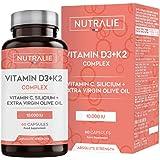 Vitamina D3 10.000 UI + K2 MK7 Alta Dosis | Contribuye al Sistema Inmunitario, Huesos y Músculos con Vitamina D3, K2, C, Sili